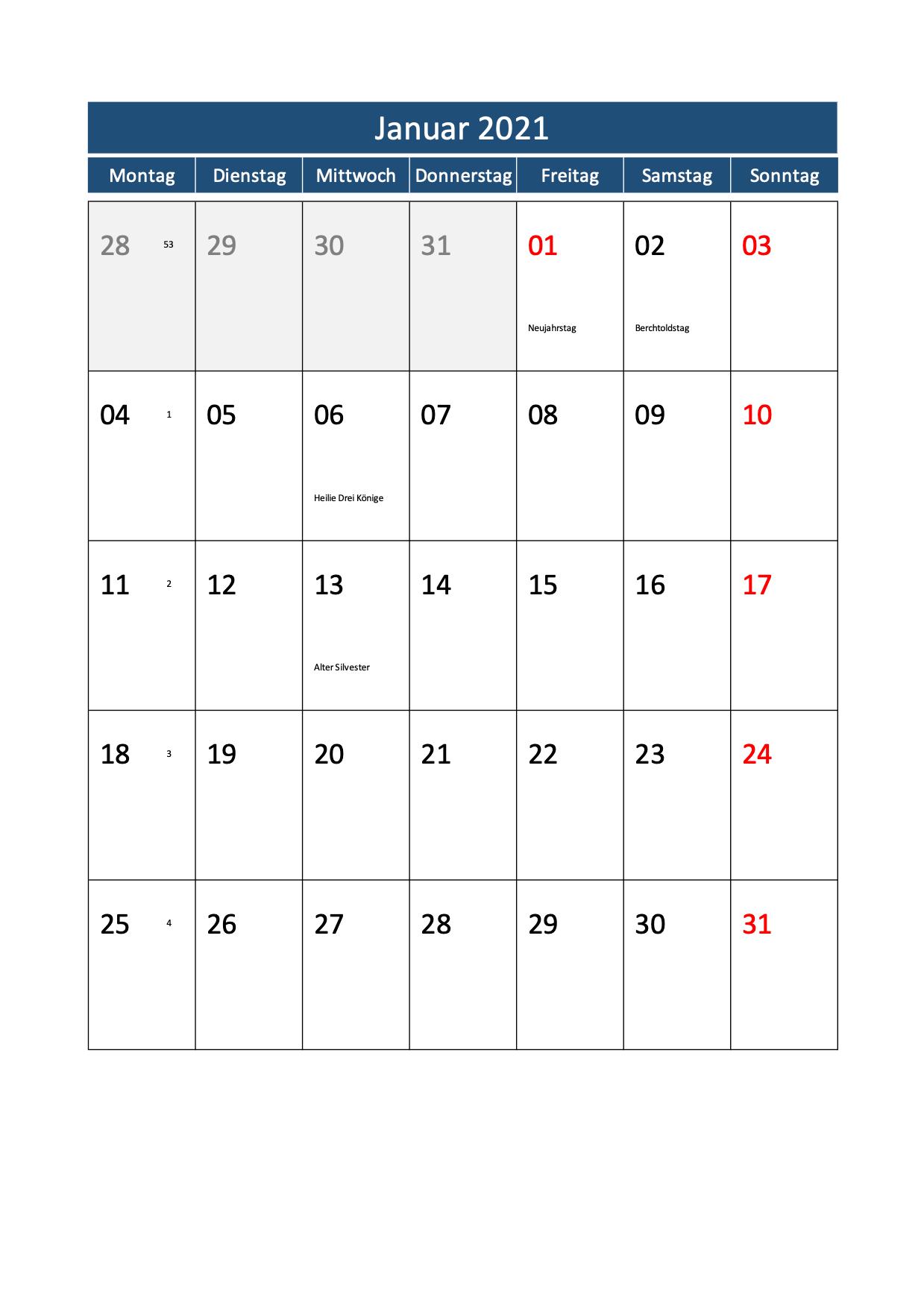 Monatskalender 2021 Schweiz Hochformat