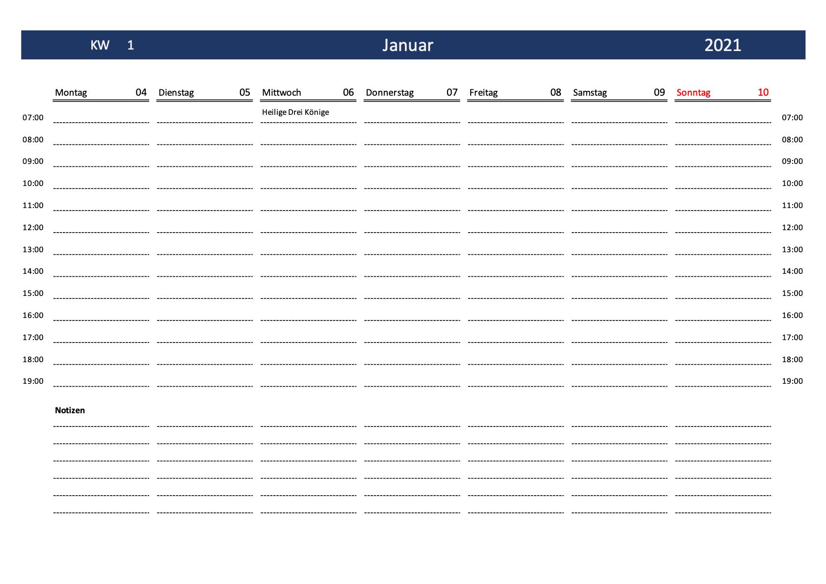 Wochenkalender 2021 Schweiz Excel & PDF