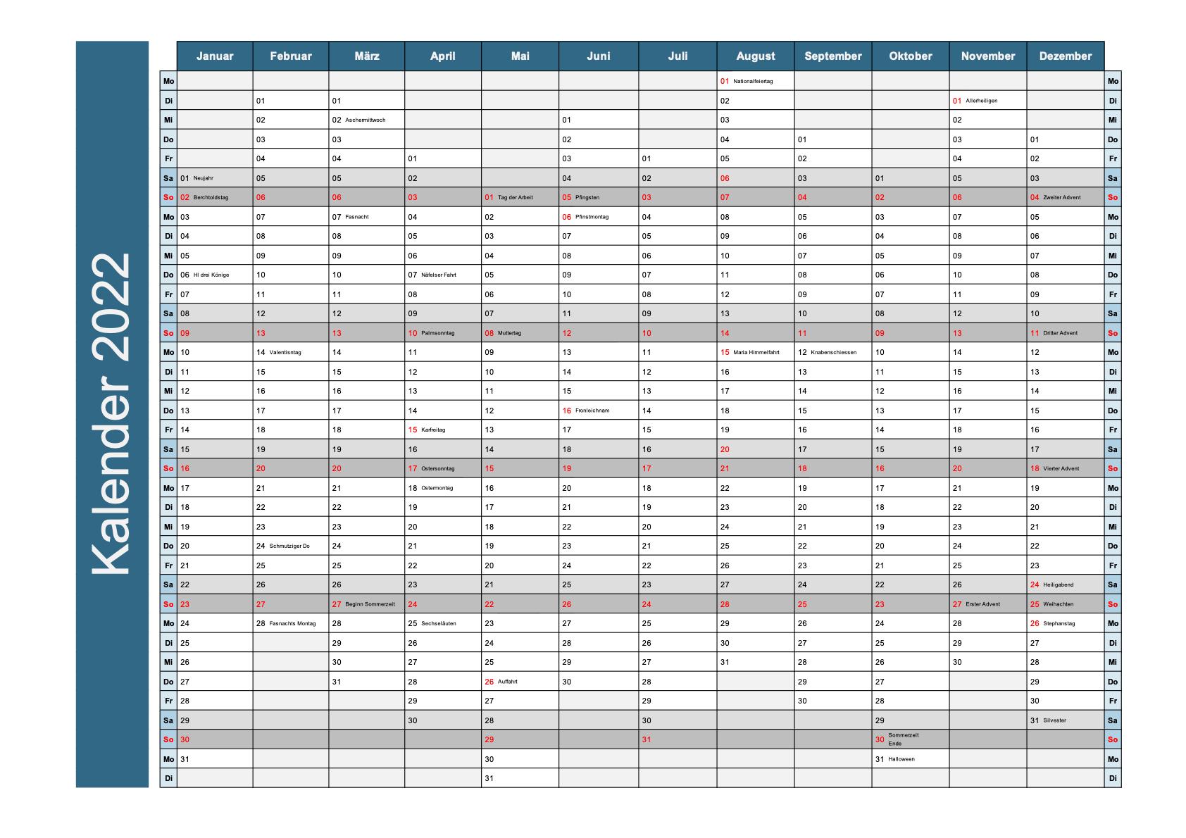 Jahreskalender 2022 Schichtplaner Schweiz