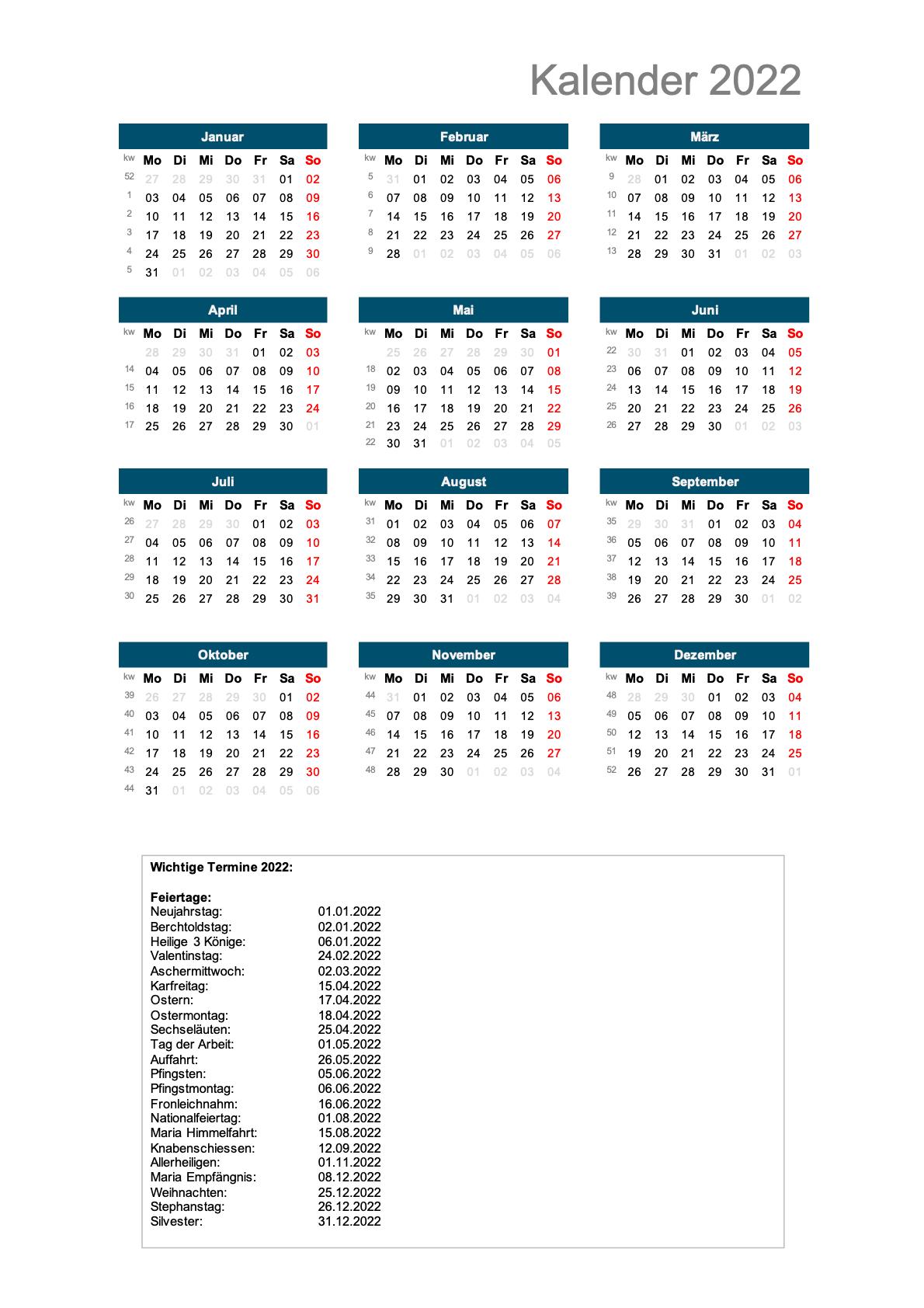 Schweizer Jahreskalender 2022 Hochformat