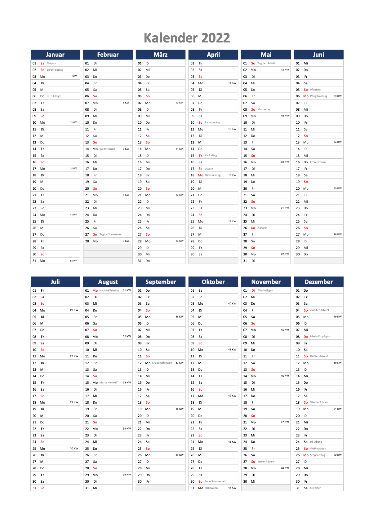 Jahreskalender 2022 Schweiz Excel mit Feiertagen zum Ausdrucken