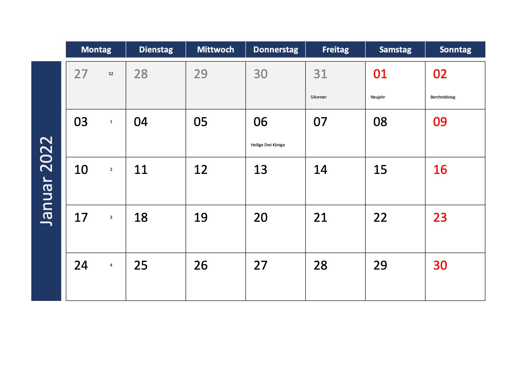 Monatskalender 2023 Schweiz Excel PDF Querformat