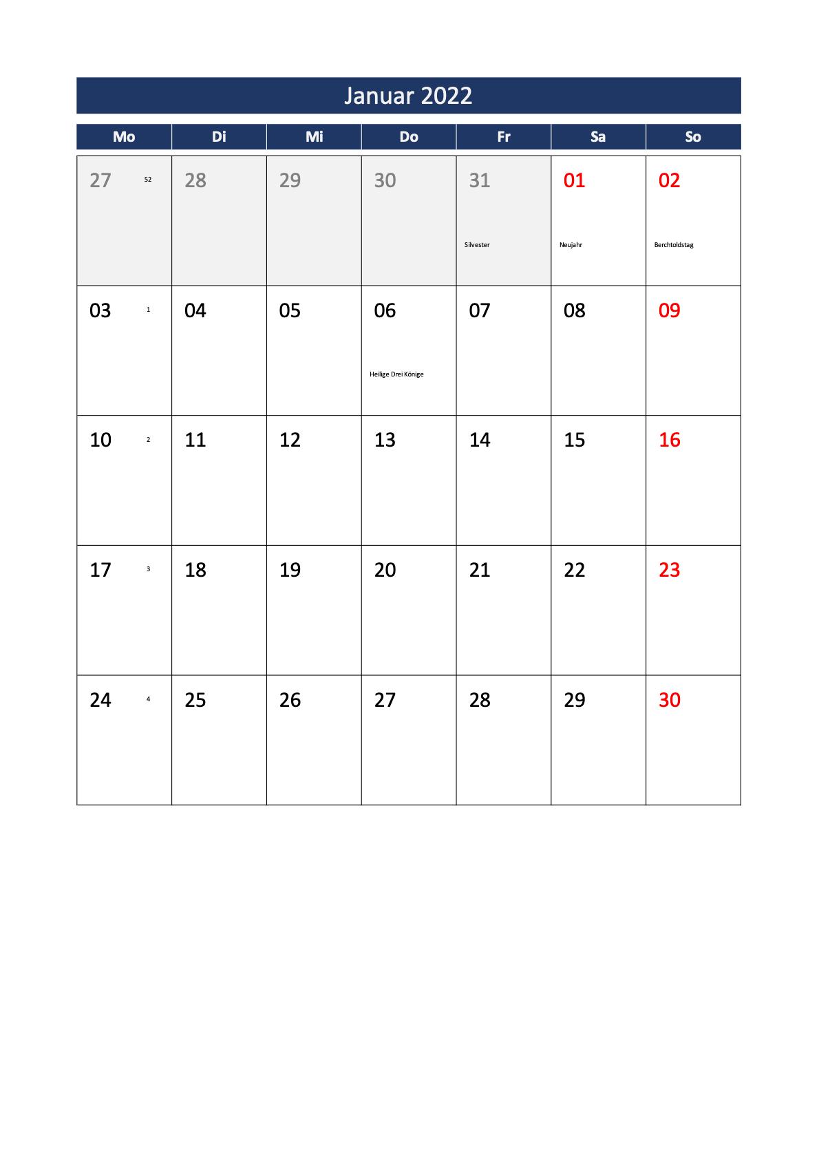 Monatskalender 2022 Schweiz Excel PDF