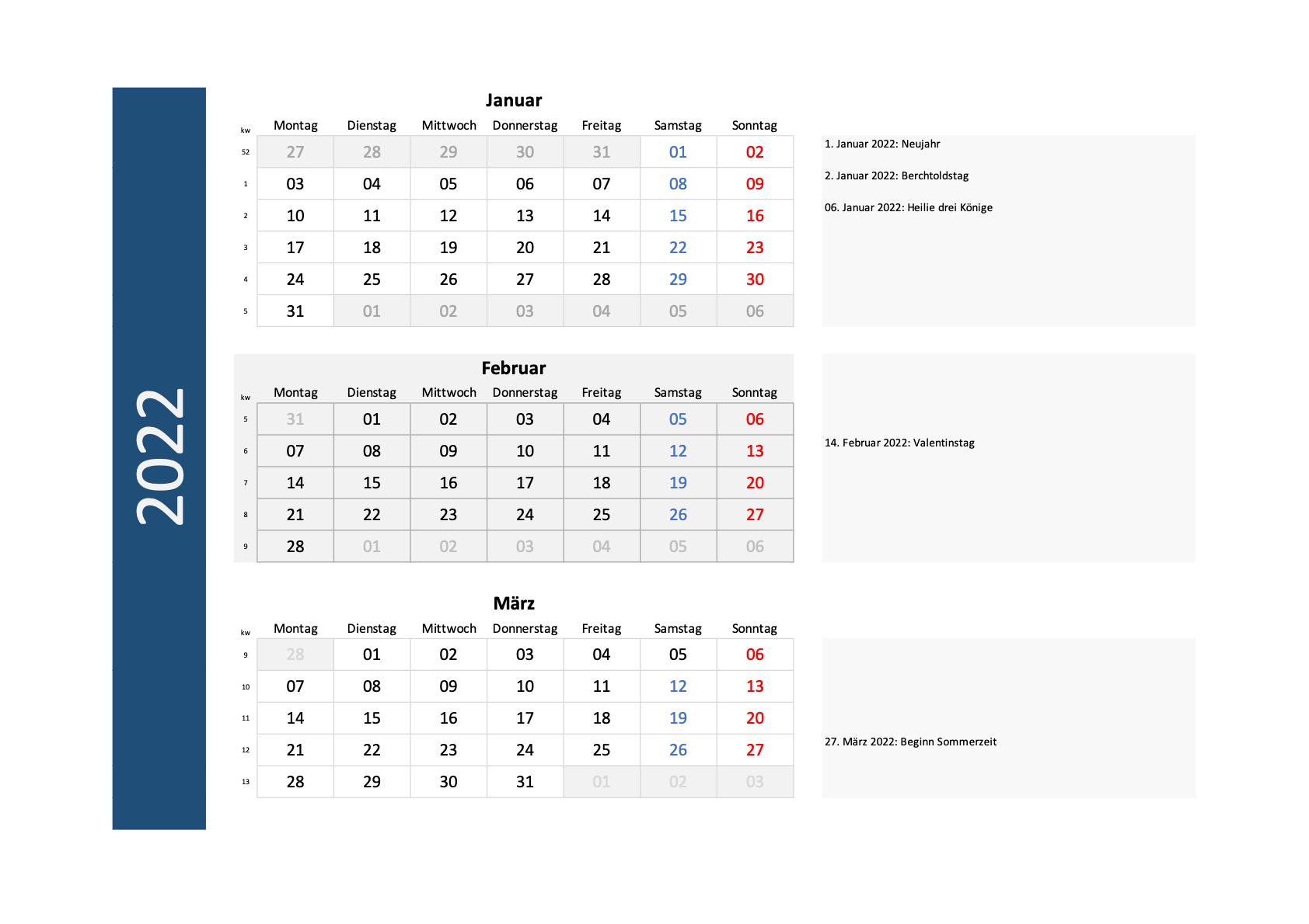 Quartalskalender 2022 Schweiz