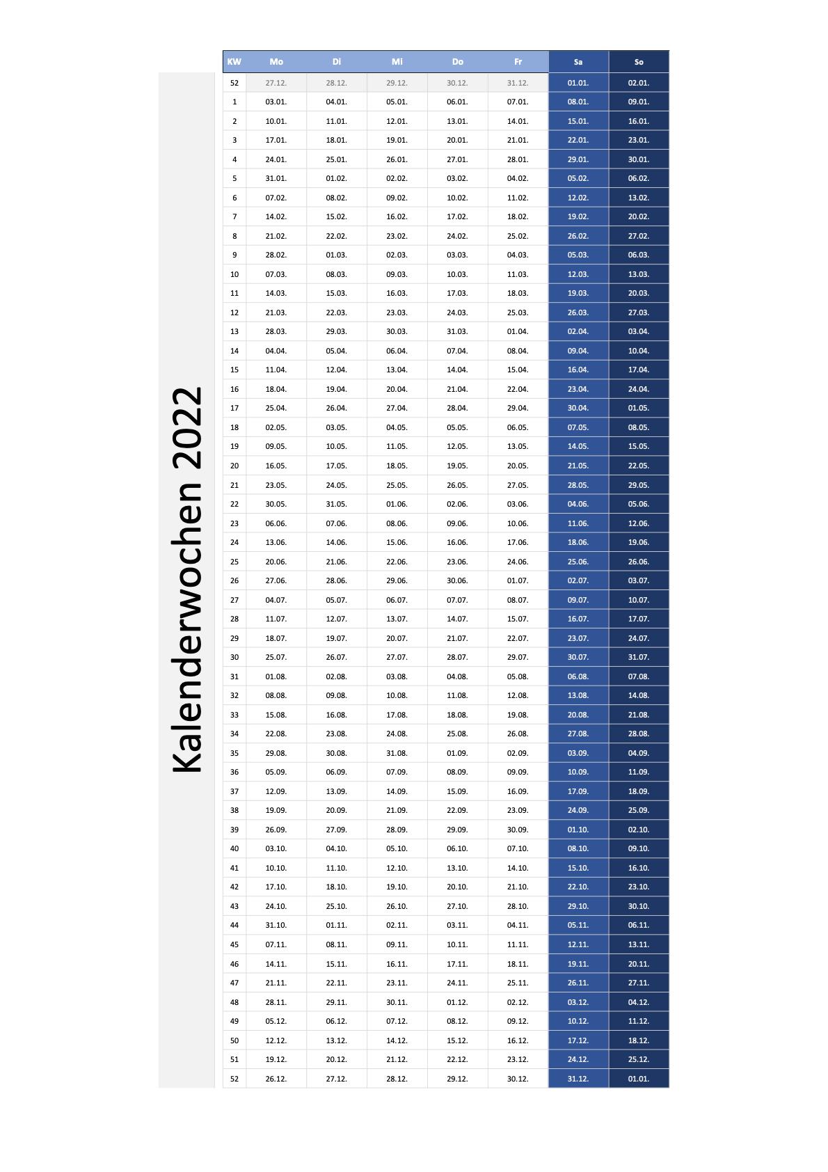 Kalenderwochen 2022 Schweiz Excel PDF