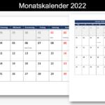 Monatskalender 2022