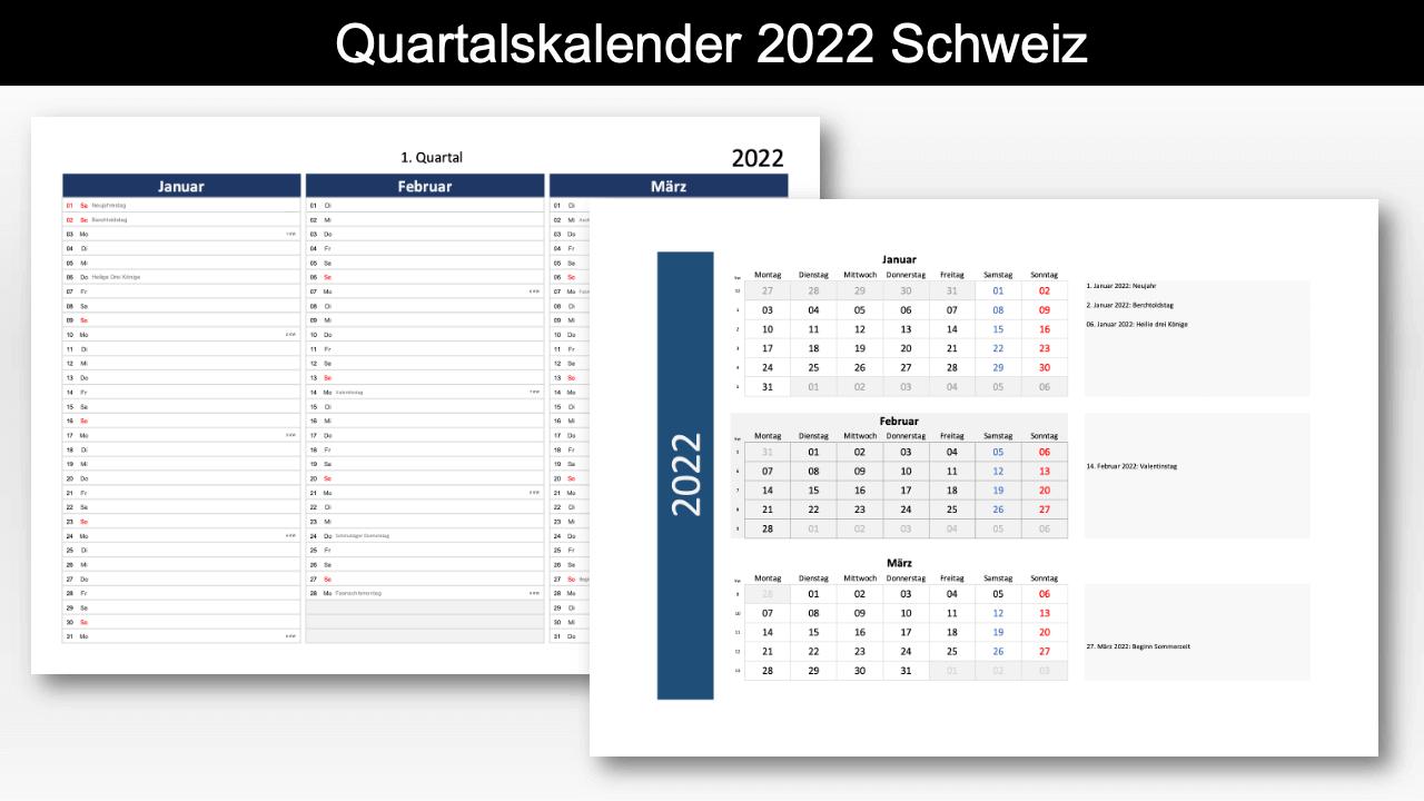 Quartalskalender 2022 Schweiz Excel PDF Header