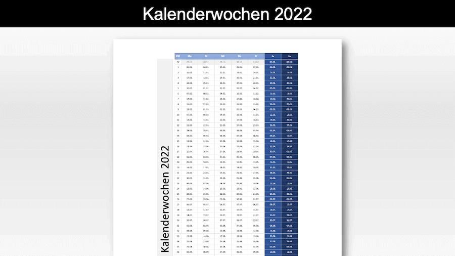 Kalenderwochen 2022 Schweiz Excel & PDF