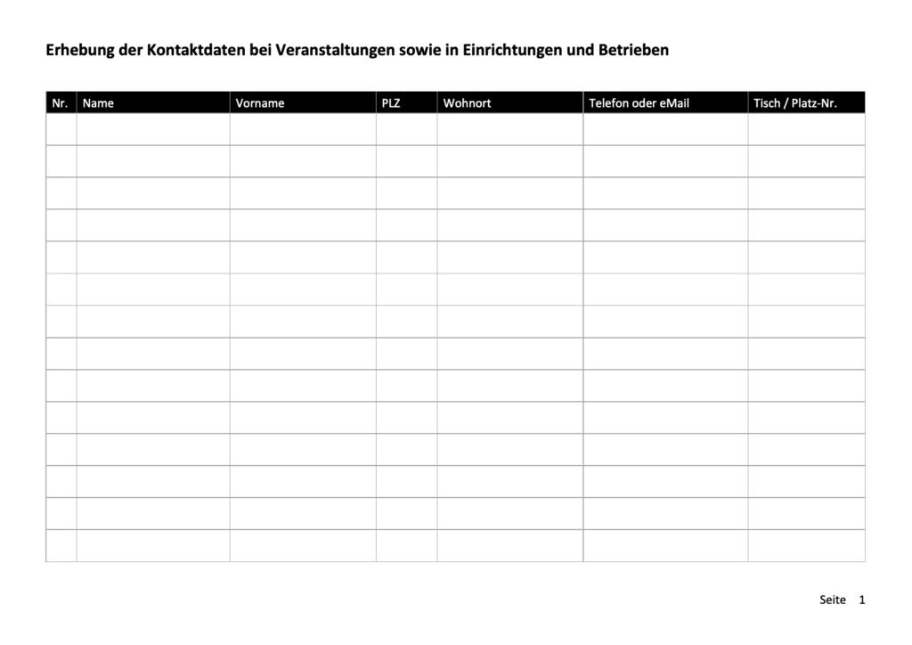 Kontaktdaten Vorlage Word Anlässe und Betrieb