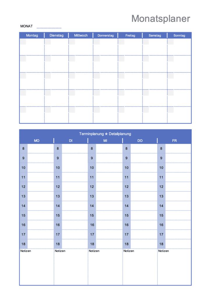 Monatsplan Vorlage Excel
