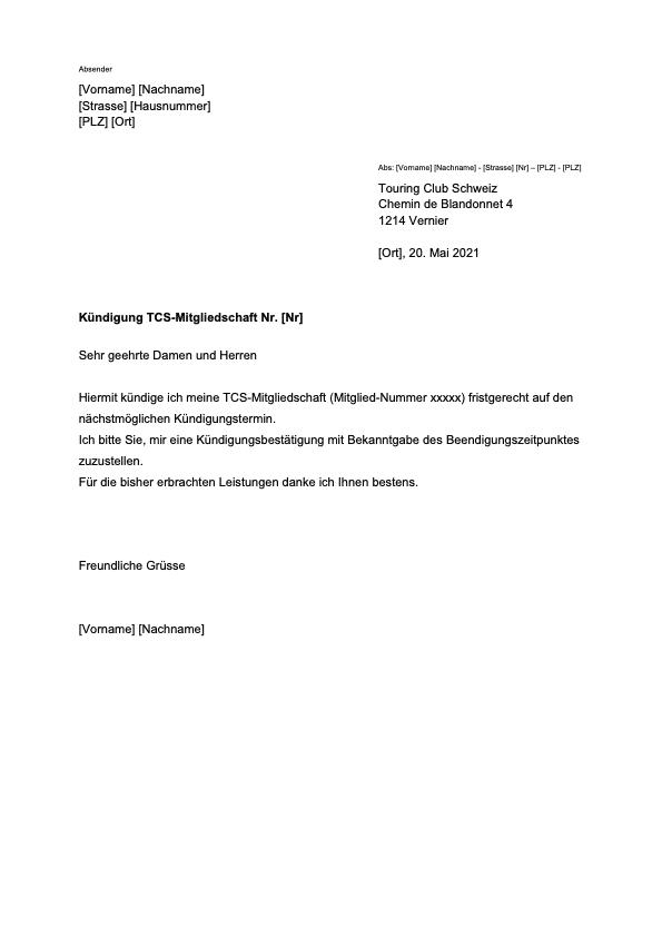 TCS Mitgliedschaft Kündigung Vorlage
