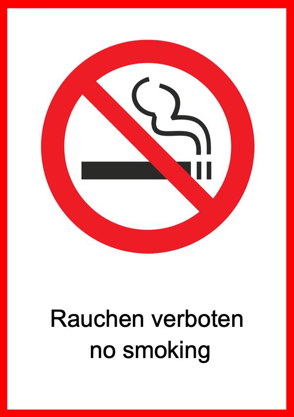 Rauchen verboten Schild Vorlage