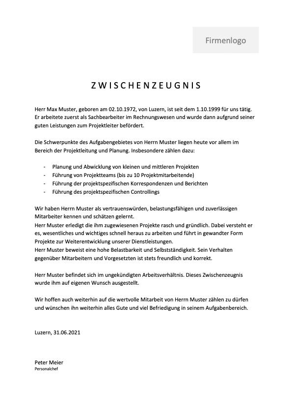 Zwischenzeugnis Muster Vorlage Schweiz