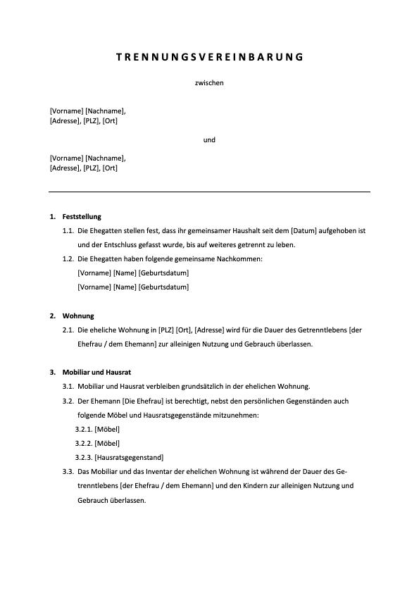 Trennungsvereinbarung Vorlage Header